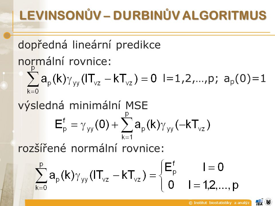 Levinsonův – Durbinův algoritmus