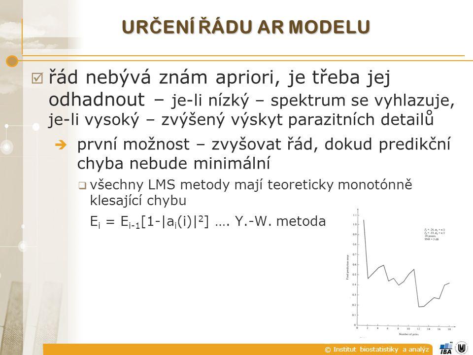 určení řádu AR modelu