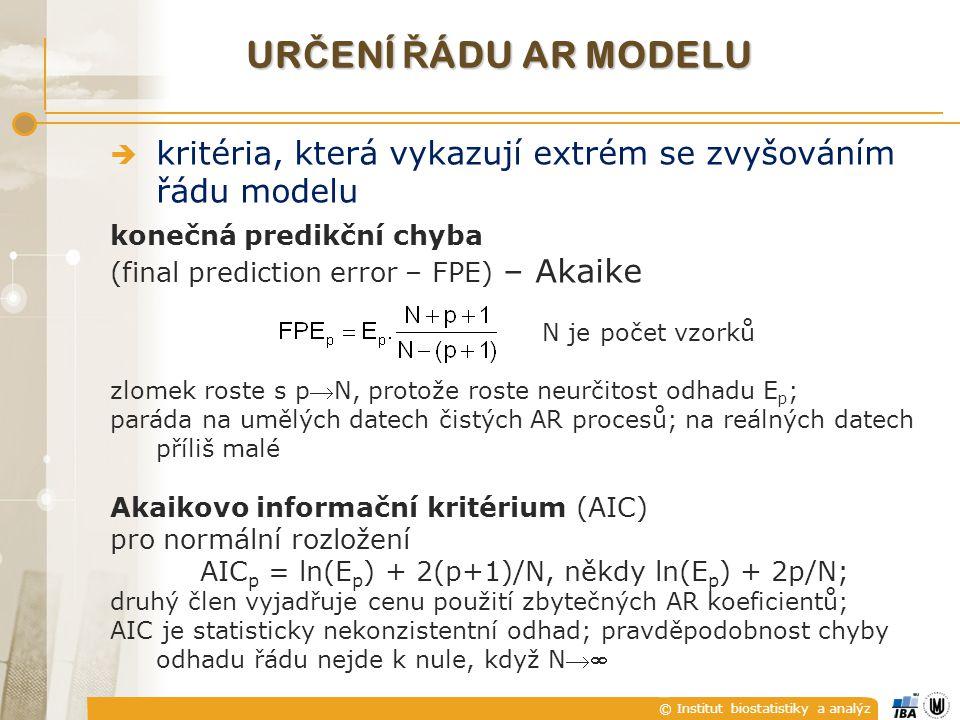 AICp = ln(Ep) + 2(p+1)/N, někdy ln(Ep) + 2p/N;