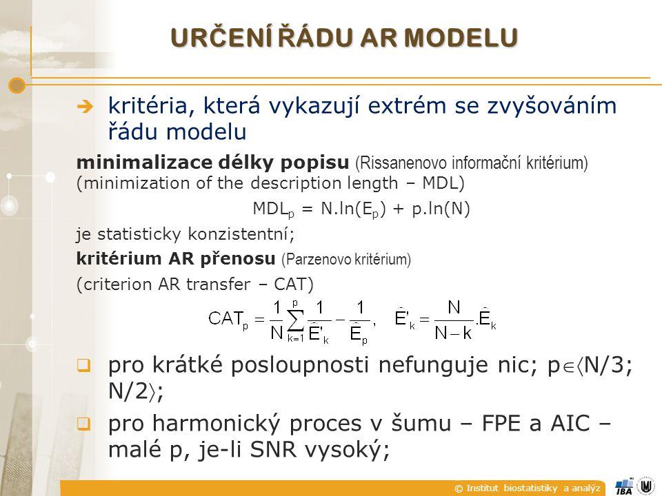určení řádu AR modelu kritéria, která vykazují extrém se zvyšováním řádu modelu. minimalizace délky popisu (Rissanenovo informační kritérium)