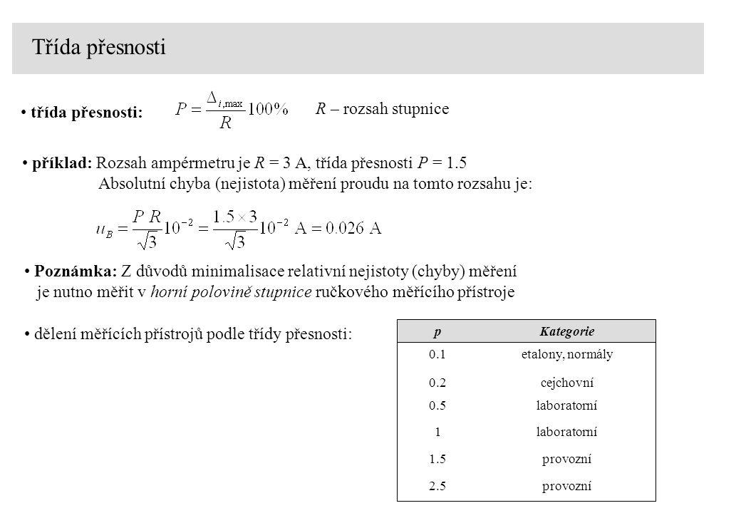 Třída přesnosti R – rozsah stupnice třída přesnosti: