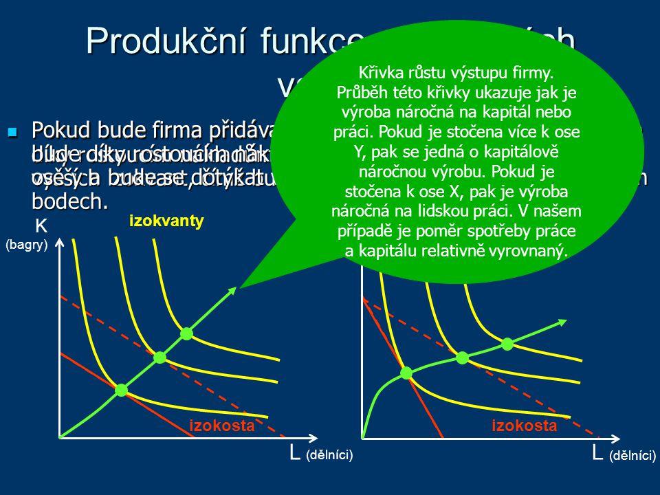 Produkční funkce při změnách vstupů