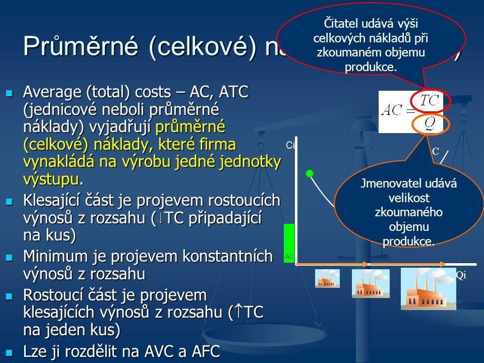Průměrné (celkové) náklady (na kus)