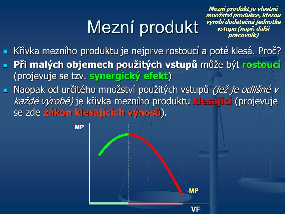 Mezní produkt je vlastně množství produkce, kterou vyrobí dodatečná jednotka vstupu (např. další pracovník)