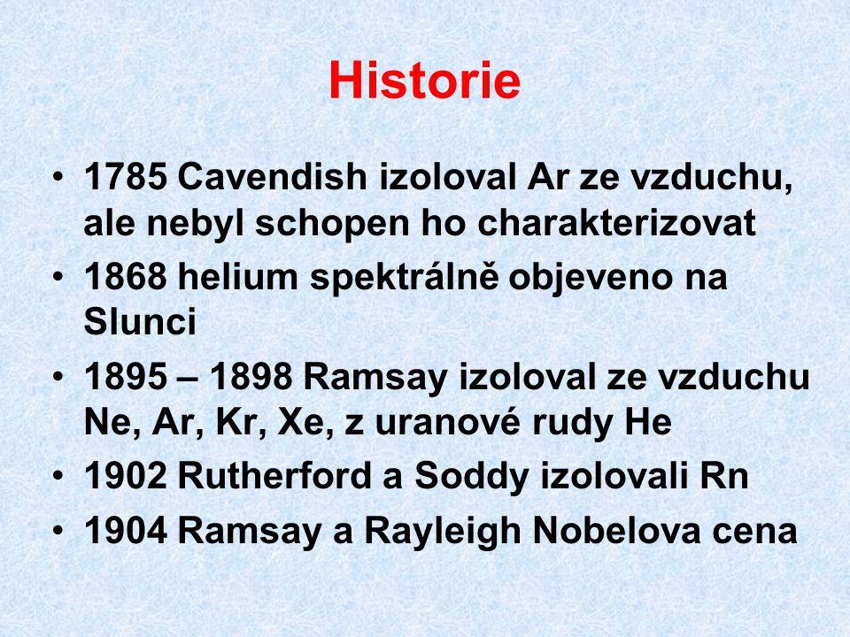 Historie 1785 Cavendish izoloval Ar ze vzduchu, ale nebyl schopen ho charakterizovat. 1868 helium spektrálně objeveno na Slunci.