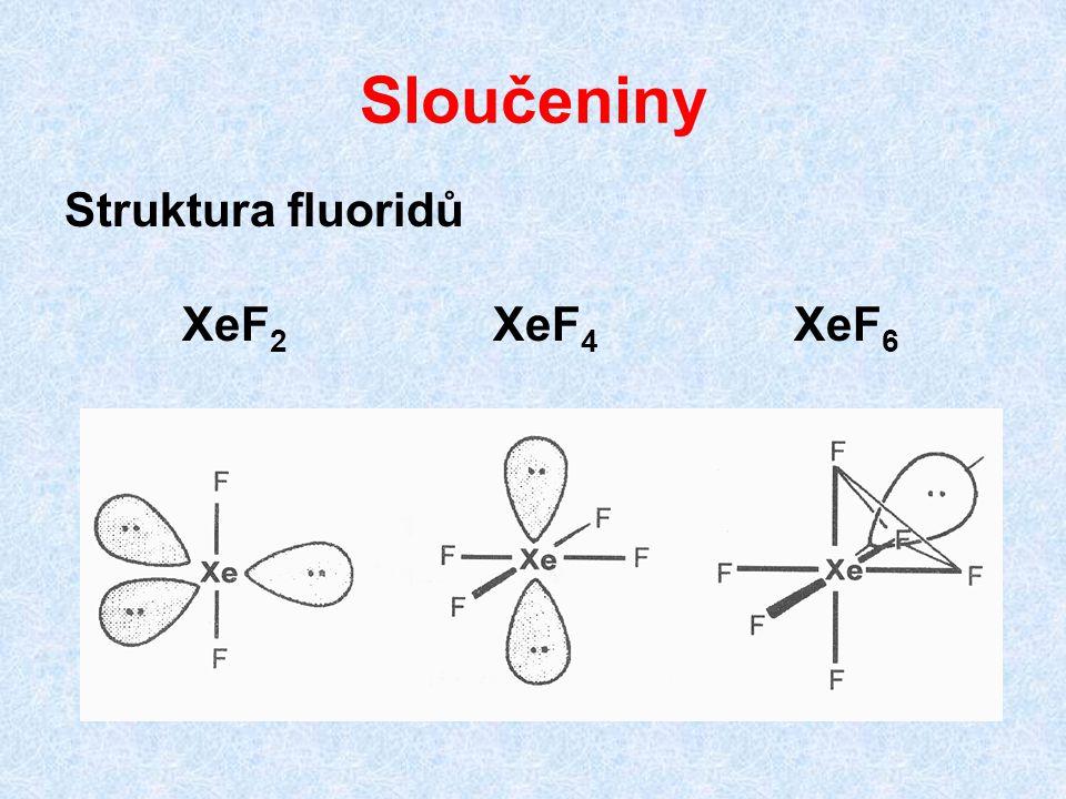Sloučeniny Struktura fluoridů XeF2 XeF4 XeF6