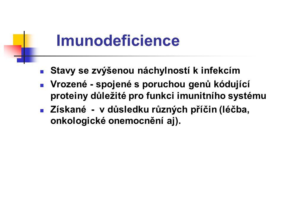 Imunodeficience Stavy se zvýšenou náchylností k infekcím