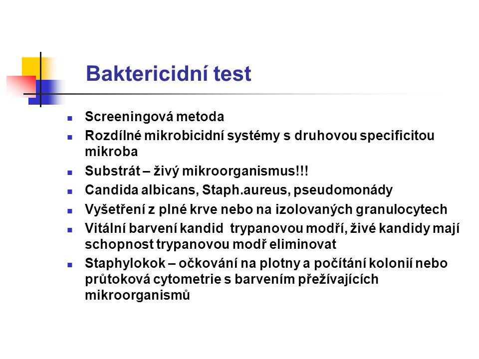 Baktericidní test Screeningová metoda