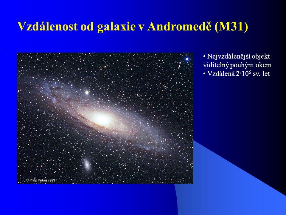 Vzdálenost od galaxie v Andromedě (M31)