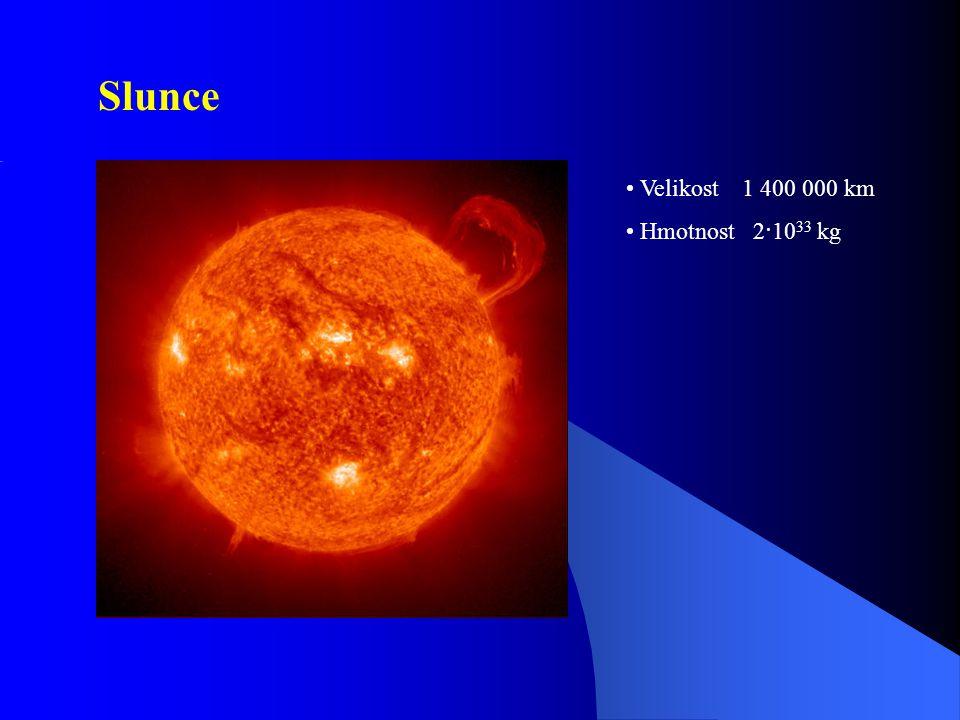 Slunce Velikost 1 400 000 km Hmotnost 2·1033 kg