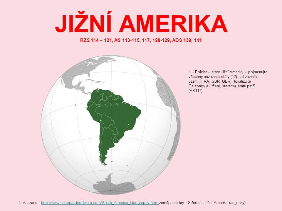 JIŽNÍ AMERIKA RZS 114 – 121, AS 113-115, 117, 128-129, ADS 139, 141