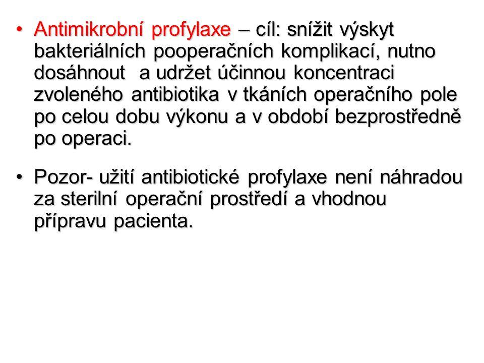 Antimikrobní profylaxe – cíl: snížit výskyt bakteriálních pooperačních komplikací, nutno dosáhnout a udržet účinnou koncentraci zvoleného antibiotika v tkáních operačního pole po celou dobu výkonu a v období bezprostředně po operaci.