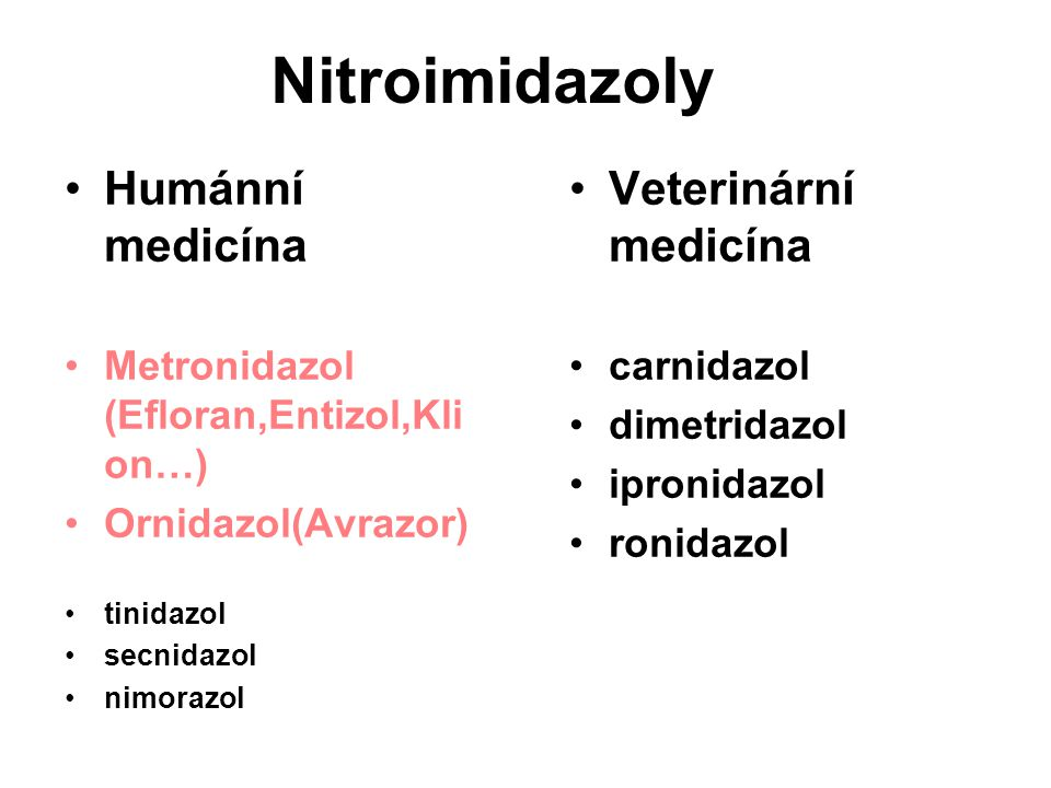 Nitroimidazoly Humánní medicína Veterinární medicína