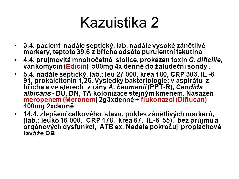 Kazuistika 2 3.4. pacient nadále septický, lab. nadále vysoké zánětlivé markery, teptota 39,6 z břicha odsáta purulentní tekutina.