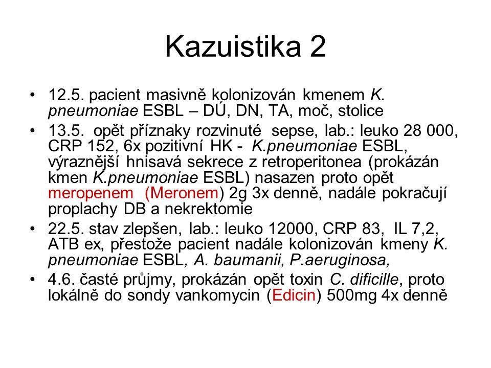 Kazuistika 2 12.5. pacient masivně kolonizován kmenem K. pneumoniae ESBL – DÚ, DN, TA, moč, stolice.