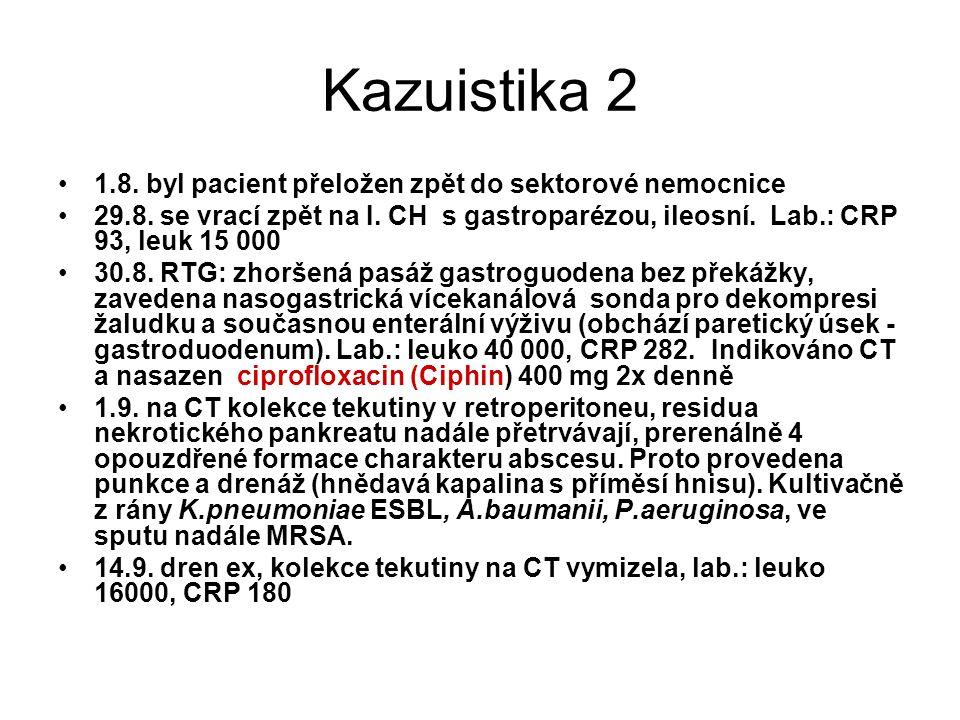 Kazuistika 2 1.8. byl pacient přeložen zpět do sektorové nemocnice