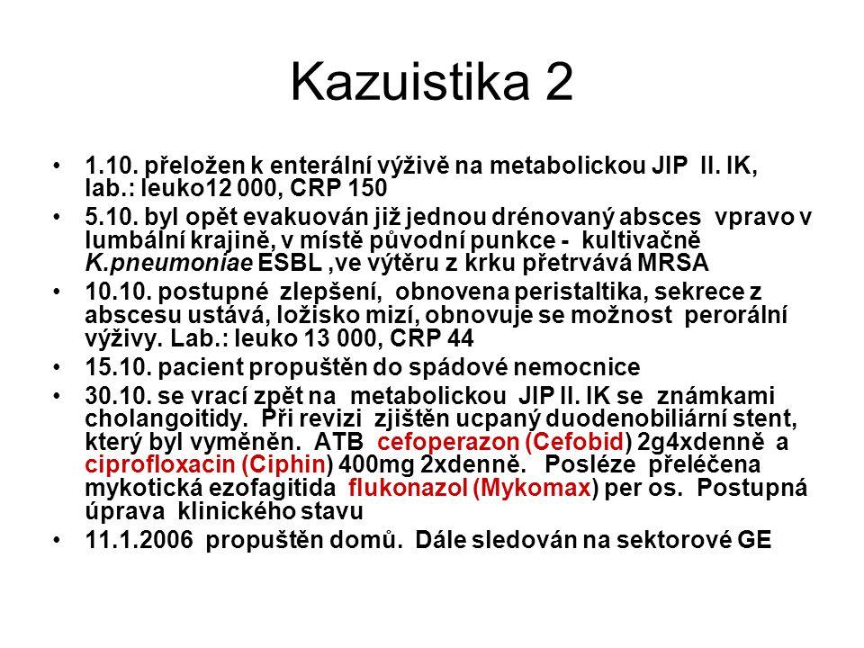 Kazuistika 2 1.10. přeložen k enterální výživě na metabolickou JIP II. IK, lab.: leuko12 000, CRP 150.