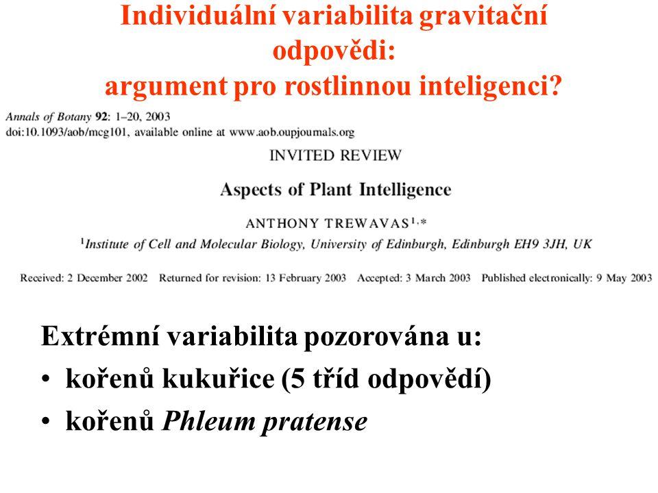 Individuální variabilita gravitační odpovědi: argument pro rostlinnou inteligenci (A. Trewavas)