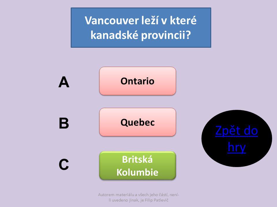 Vancouver leží v které kanadské provincii