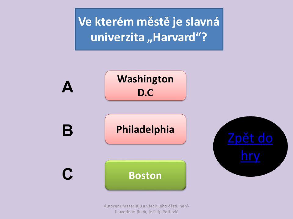 """Ve kterém městě je slavná univerzita """"Harvard"""