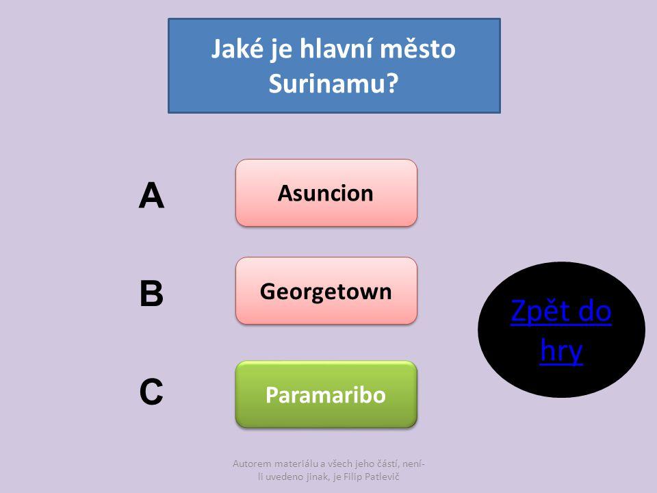 Jaké je hlavní město Surinamu