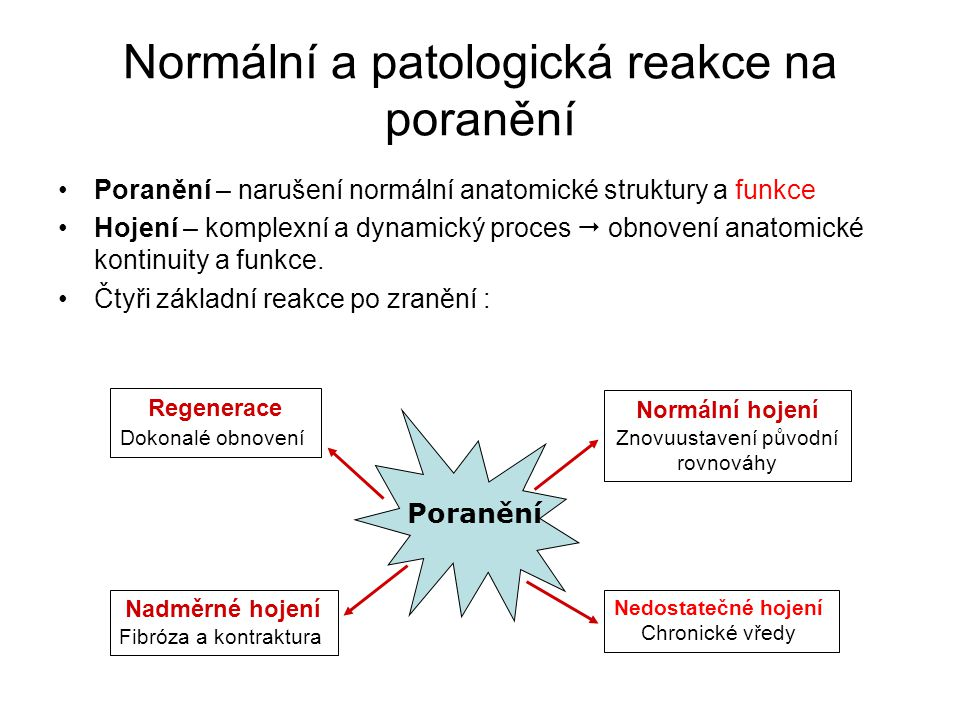 Normální a patologická reakce na poranění