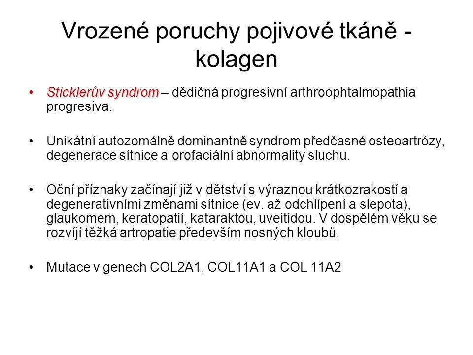 Vrozené poruchy pojivové tkáně - kolagen