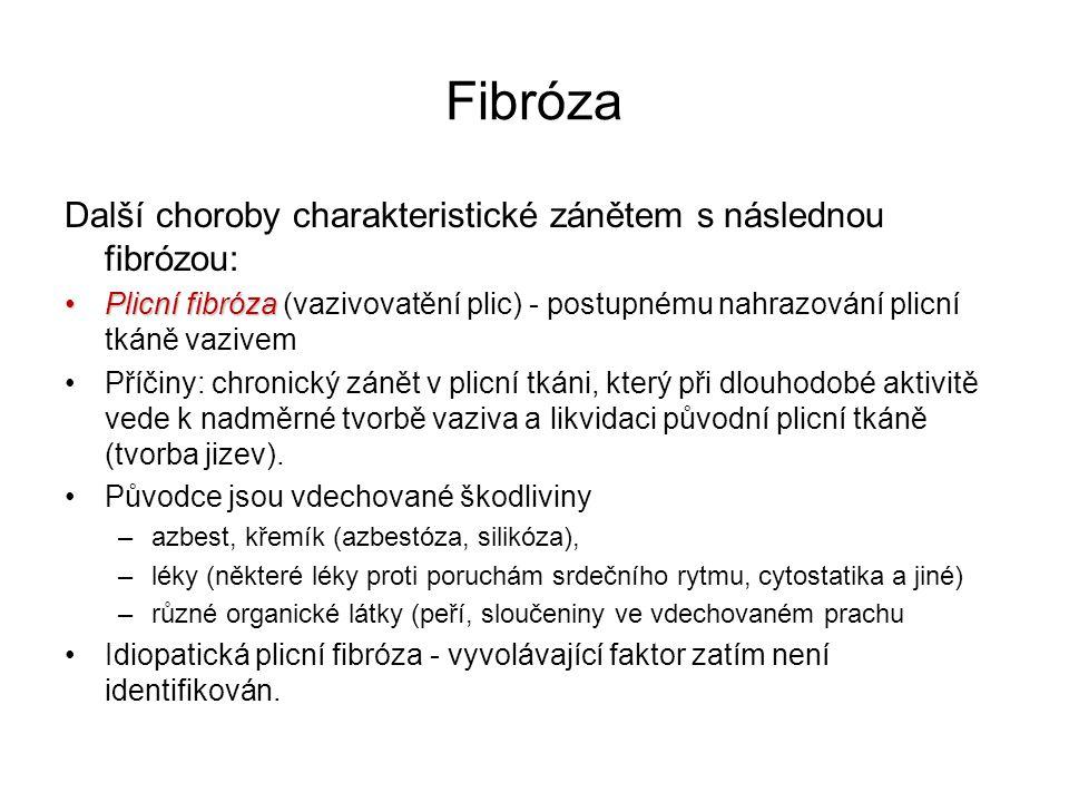 Fibróza Další choroby charakteristické zánětem s následnou fibrózou: