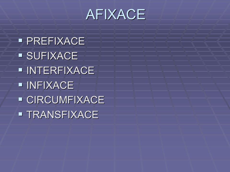 AFIXACE PREFIXACE SUFIXACE INTERFIXACE INFIXACE CIRCUMFIXACE
