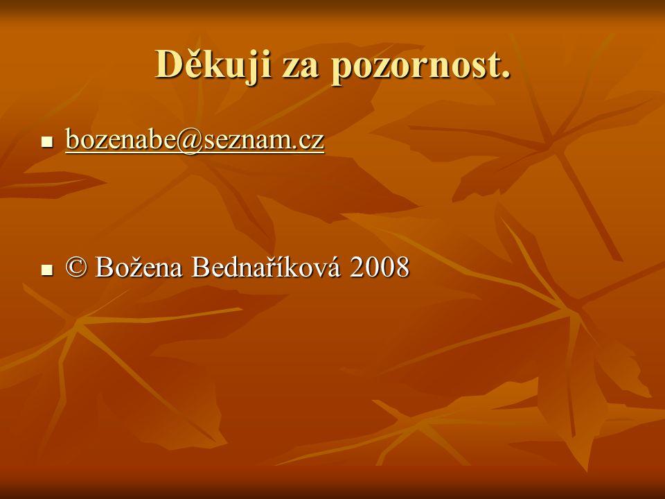 Děkuji za pozornost. bozenabe@seznam.cz © Božena Bednaříková 2008