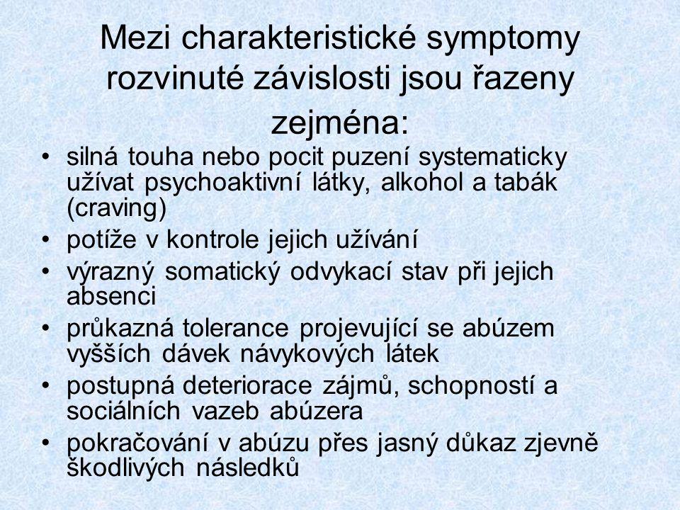 Mezi charakteristické symptomy rozvinuté závislosti jsou řazeny zejména: