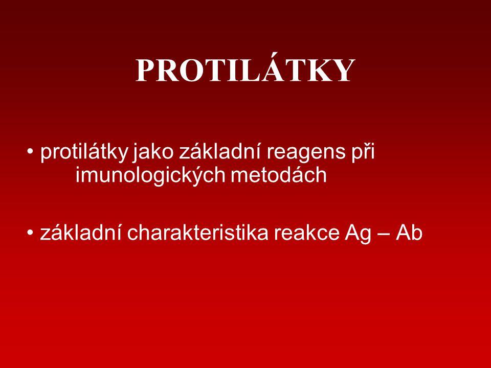 PROTILÁTKY protilátky jako základní reagens při imunologických metodách.