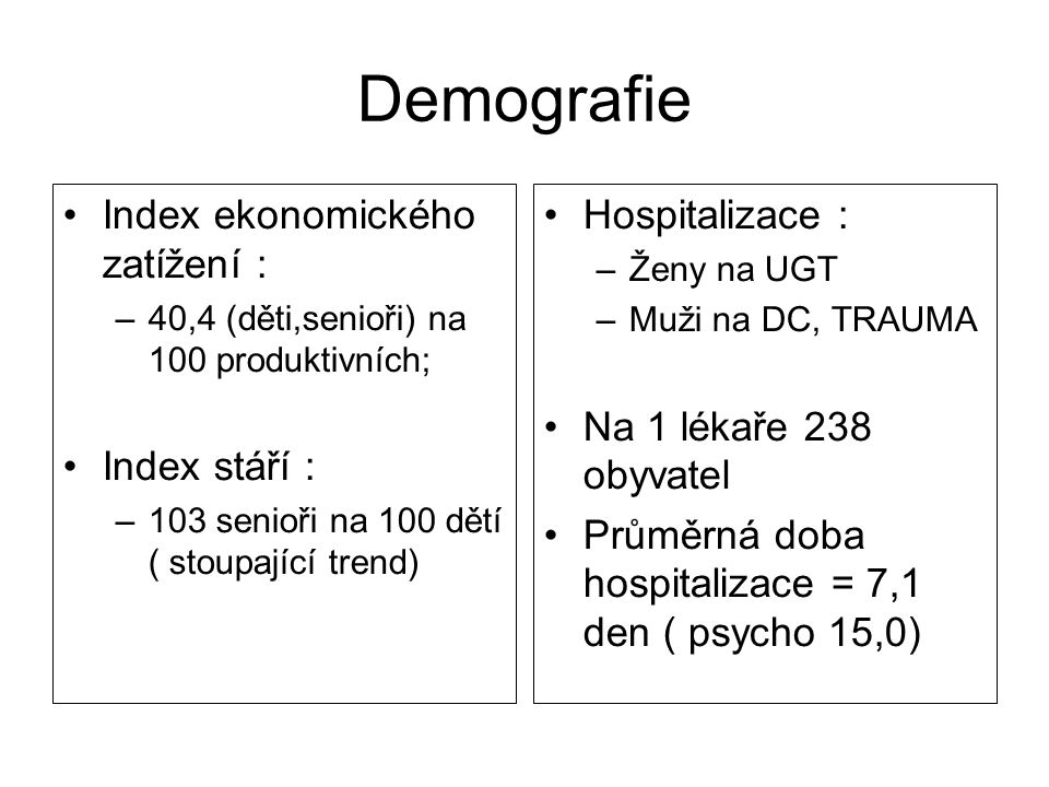 Demografie Index ekonomického zatížení : Index stáří : Hospitalizace :