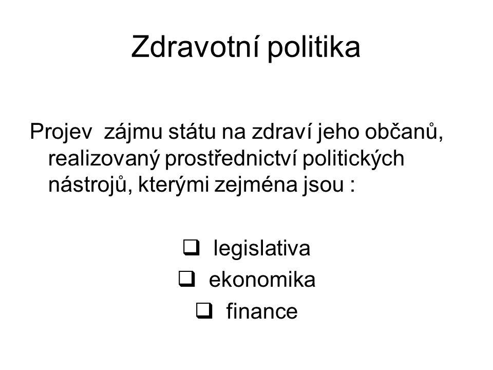 Zdravotní politika Projev zájmu státu na zdraví jeho občanů, realizovaný prostřednictví politických nástrojů, kterými zejména jsou :