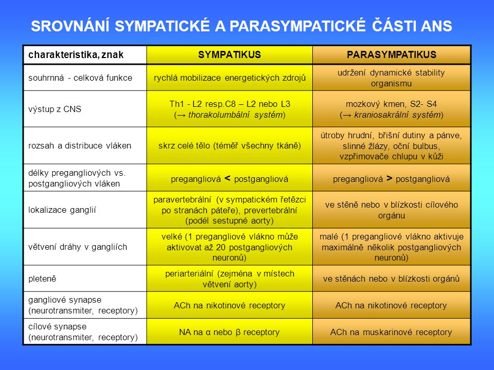 SROVNÁNÍ SYMPATICKÉ A PARASYMPATICKÉ ČÁSTI ANS