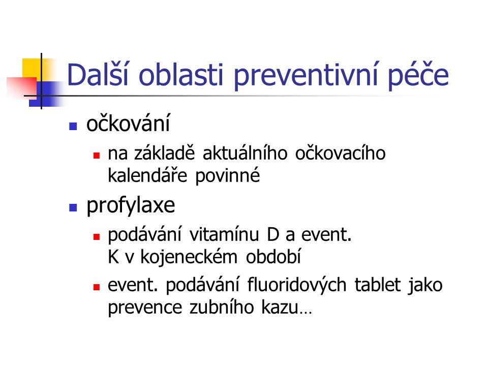 Další oblasti preventivní péče