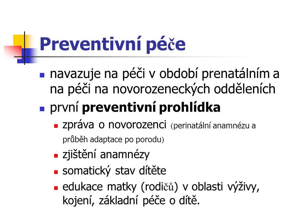 Preventivní péče navazuje na péči v období prenatálním a na péči na novorozeneckých odděleních. první preventivní prohlídka.