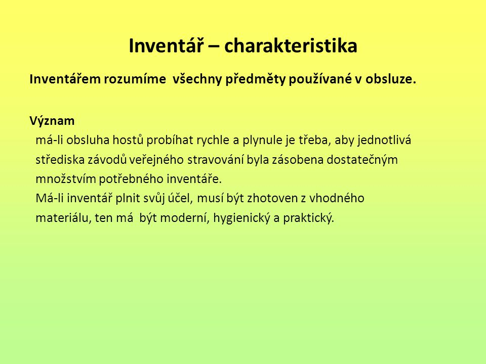 Inventář – charakteristika