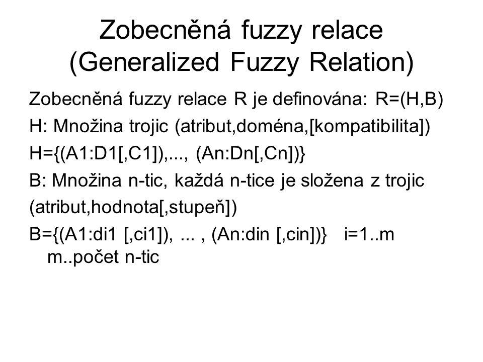 Zobecněná fuzzy relace (Generalized Fuzzy Relation)