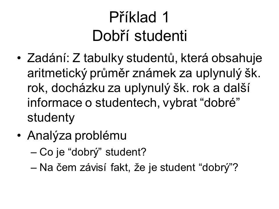Příklad 1 Dobří studenti