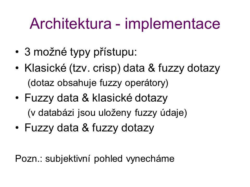 Architektura - implementace