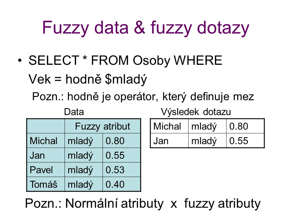 Fuzzy data & fuzzy dotazy