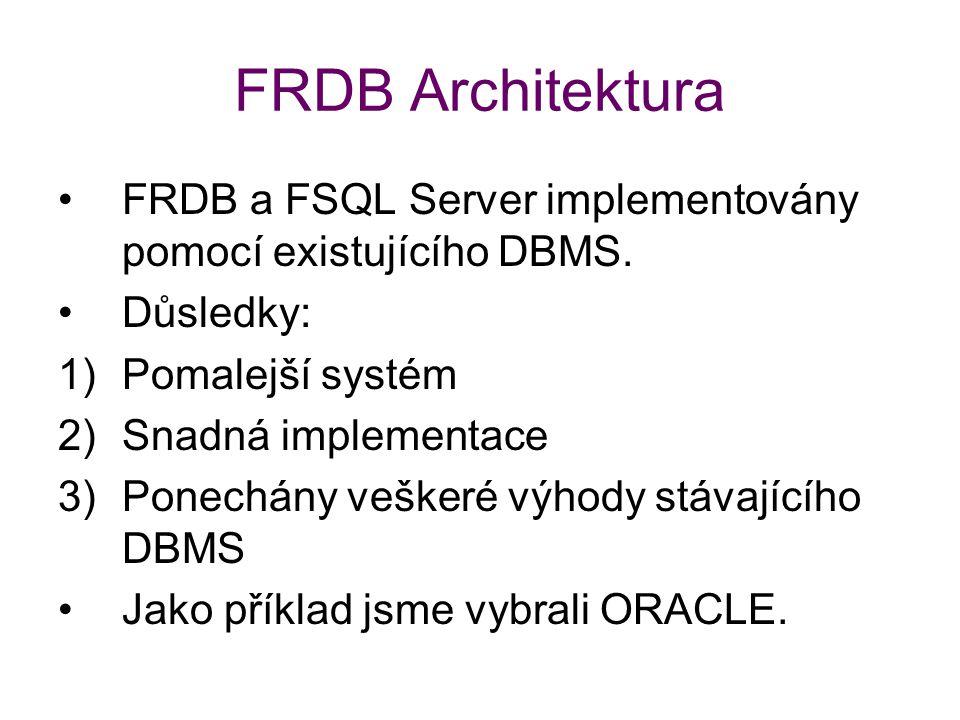 FRDB Architektura FRDB a FSQL Server implementovány pomocí existujícího DBMS. Důsledky: Pomalejší systém.
