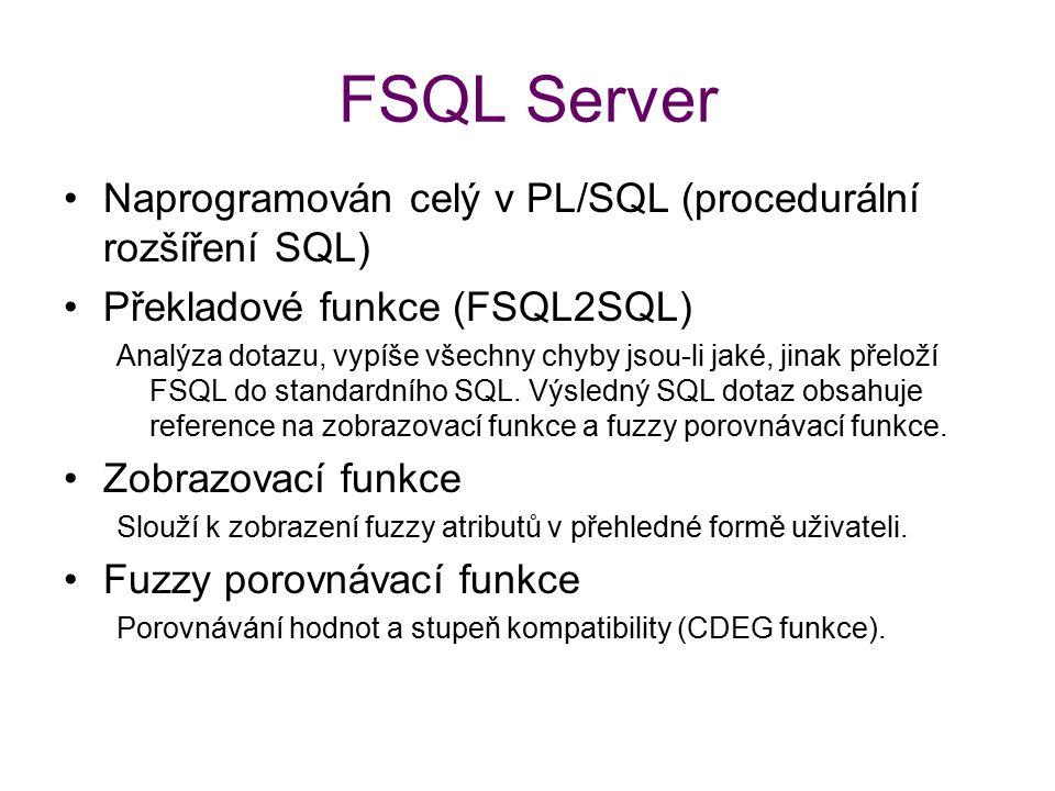 FSQL Server Naprogramován celý v PL/SQL (procedurální rozšíření SQL)