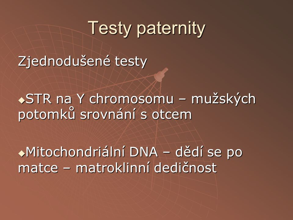 Testy paternity Zjednodušené testy