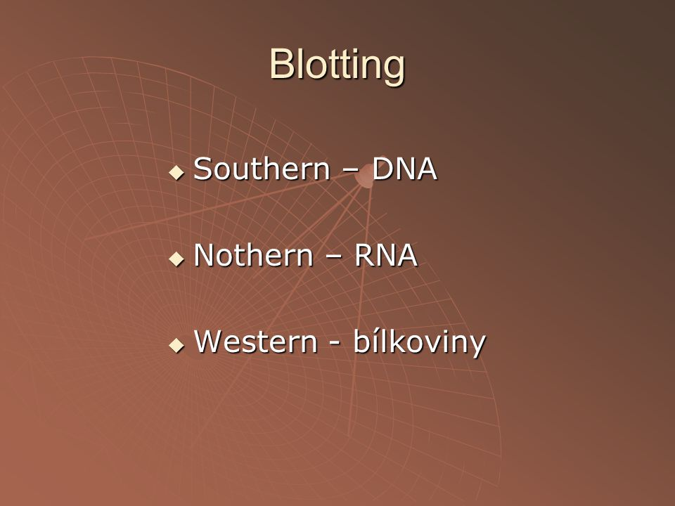 Blotting Southern – DNA Nothern – RNA Western - bílkoviny