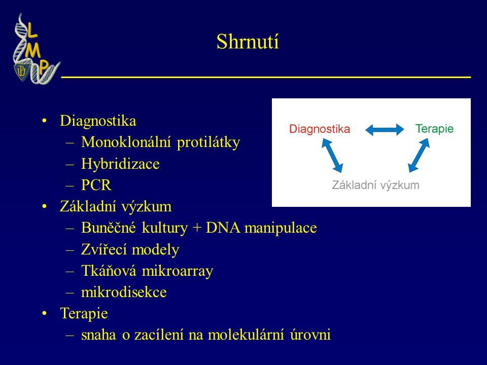 Shrnutí Diagnostika Monoklonální protilátky Hybridizace PCR