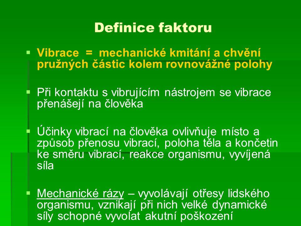 Definice faktoru Vibrace = mechanické kmitání a chvění pružných částic kolem rovnovážné polohy.
