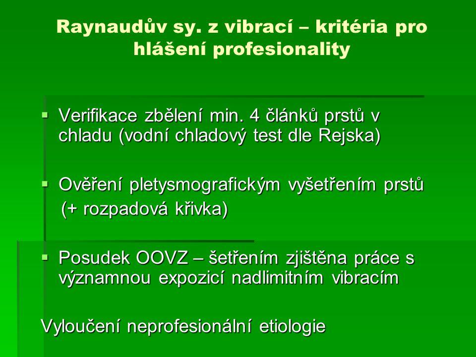 Raynaudův sy. z vibrací – kritéria pro hlášení profesionality