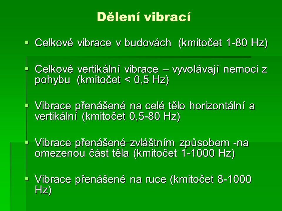 Dělení vibrací Celkové vibrace v budovách (kmitočet 1-80 Hz)